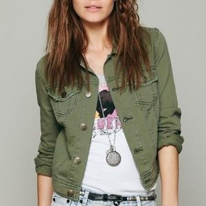 Free People Distressed Army Moss Green Jacket